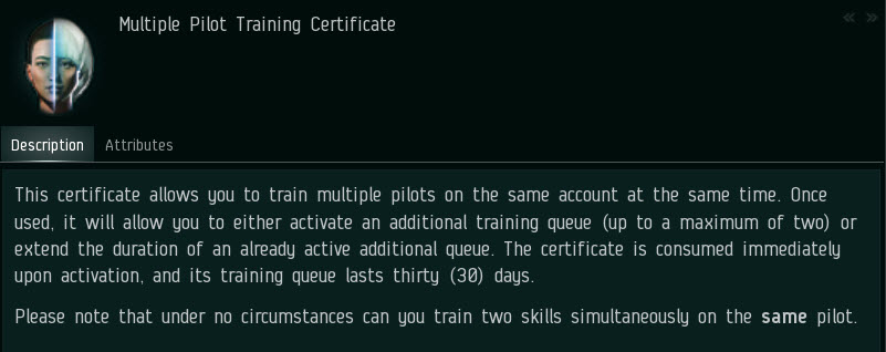EVE Online Multiple Pilot Character Training Certificate