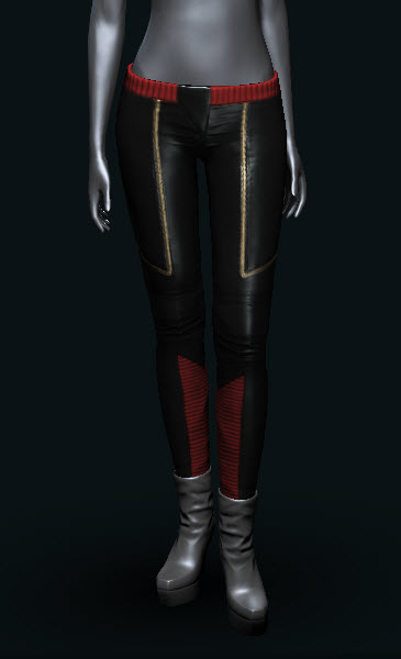 EVE Online Womens Excursion Pants black red and gold