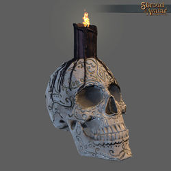 TT Shroud of the Avatar Ornate Skull Candles