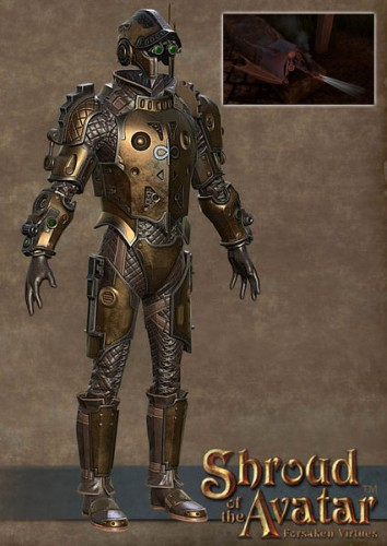 TT Shroud of the Avatar Copper Clockwork Armor and Baby Dragon Set