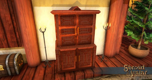 TT Shroud of the Avatar Ornate Oak Panel Wardrobe