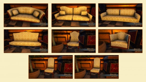 TT Shroud of the Avatar Fine White and Gold Upholstered Furniture Set