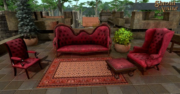 TT Shroud of the Avatar Vintage Red Velvet with Nailheads Furniture Set