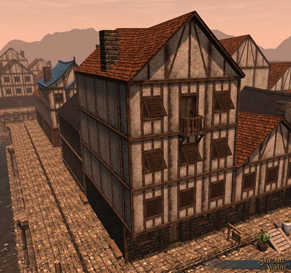 TT Shroud of the Avatar Wood & Plaster Four Story Row Home