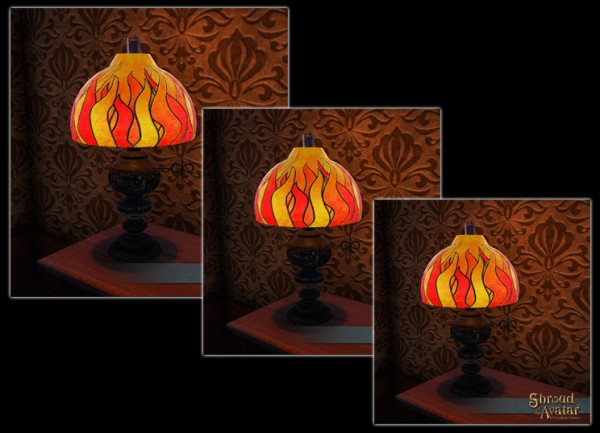 TT Shroud of the Avatar Flame Stained Glass Table Lamp 3 Pack