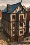 TT Shroud of the Avatar Blue Tile Roof Four-Story Row Home
