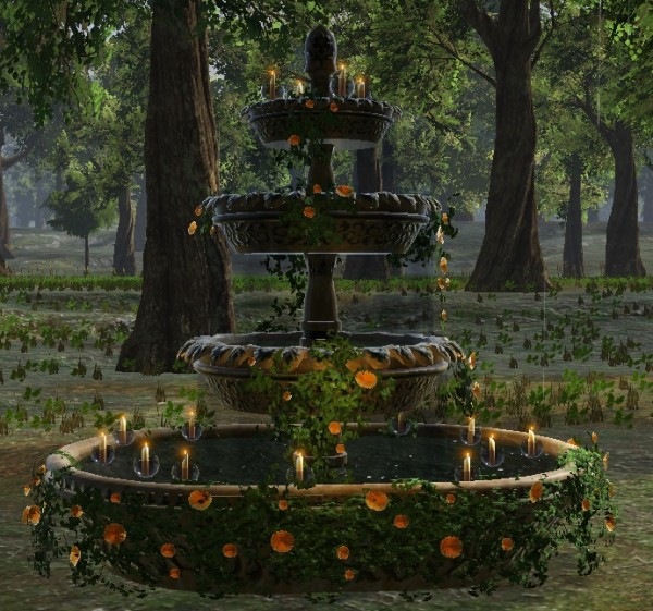 TT Shroud of the Avatar Spring Fountain with Floating Candles