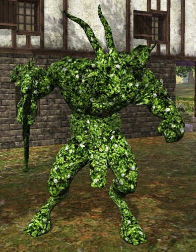 TT Shroud of the Avatar White Flower Topiary Satyr Statue