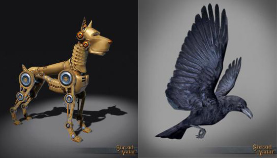 TT Shroud of the Avatar Brass Clockwork Dog and Founder's Raven Decoration Pets