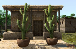 TT Shroud of the Avatar Potted Saguaro Multi-Branch Cactus 3-Pack