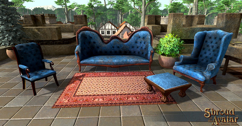 TT Shroud of the Avatar Vintage Blue Velvet with Nailheads Furniture Set