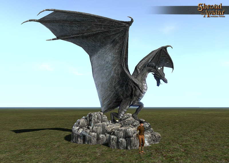 Shroud of the Avatar Stone Dragon Statue Village Size