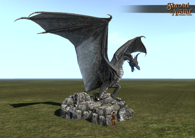 Shroud of the Avatar Stone Dragon Statue Town Size