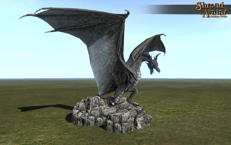 Shroud of the Avatar Stone Dragon Statue Keep Size