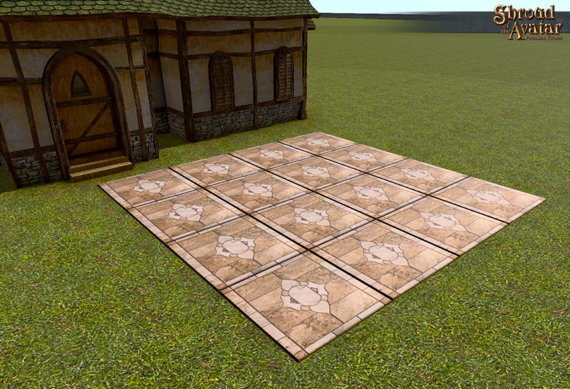 Shroud of the Avatar Giant Polished Beige Inlaid Marble Pavers